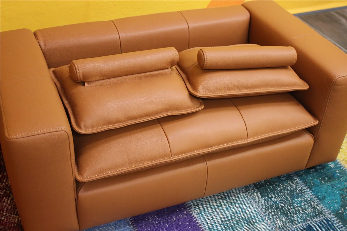 w schillig giovanni mini kindersofa mit kissen anilinleder z76 51 cognac ebay. Black Bedroom Furniture Sets. Home Design Ideas